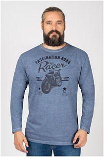 Kitaro Langarmshirt mit Motorradprint