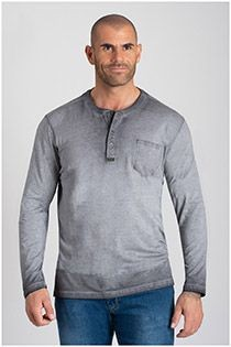 Redfield Langarm-T-Shirt mit Serafino-Kragen.