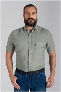 100% Leinen-Kurzarmhemd von Plusman