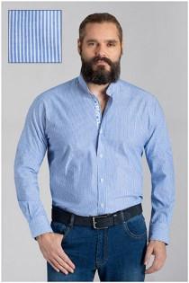 Gestreiftes Langarm-Freizeithemd von Plusman