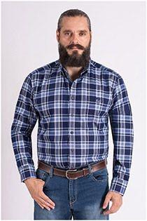Kariertes Oberhemd mit extra langen Ärmeln von Casamoda.
