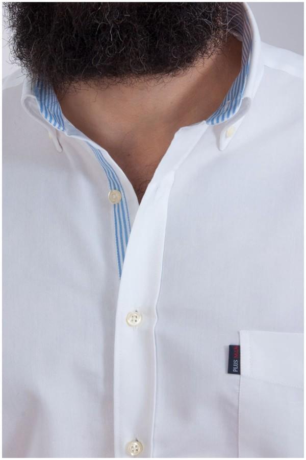 Uni Oberhemd mit kurzen Ärmeln von Plus Man - weiß