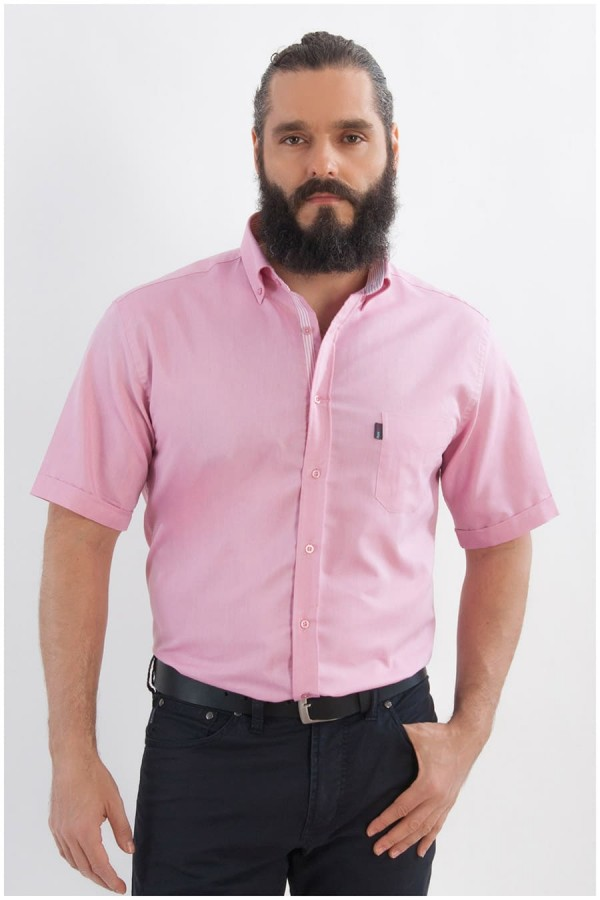 Uni Oberhemd mit kurzen Ärmeln von Plus Man - Rosa