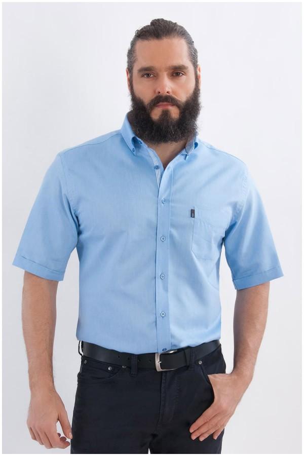 Uni Oberhemd mit kurzen Ärmeln von Plus Man - Hellblau