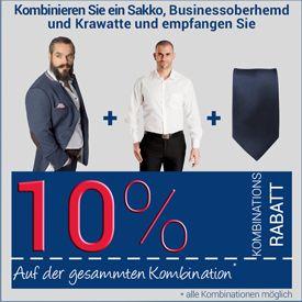 10% Kombinationsrabatt auf Sakko, Oberhemd und Krawatte